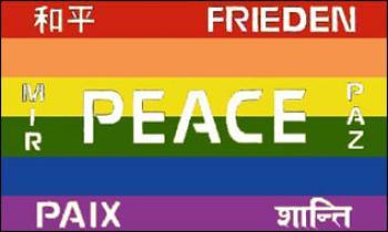 Flagge Fahne Peace mehrsprachig 90 x 150 cm