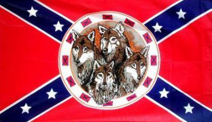 Flagge Fahne Südstaaten mit Wölfe 90 x 150 cm