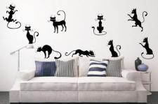 Wandtattoo Black Cat Set