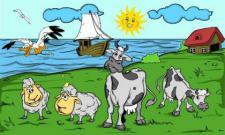 Flagge Fahne Schafe und Kühe II 90 x 150 cm