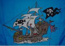 Flagge Fahne Piratenschiff blau 90 x 150 cm