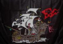 Flagge Fahne Piratenschiff schwarz 90 x 150 cm