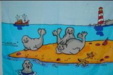 Flagge Fahne Robben auf Sandbank 90 x 150 cm