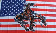Flagge Fahne USA Indianer mit Pferd I 90 x 150 cm
