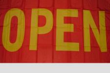 Flagge Fahne Open gelb rot 90 x 150 cm