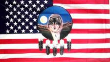 Flagge Fahne USA Traumfänger Wolf 90 x 150 cm