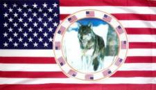 Flagge Fahne USA mir Wolf 90 x 150 cm