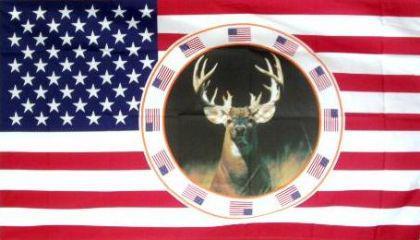 Flagge Fahne USA Hirsch 90 x 150 cm - Vorschau