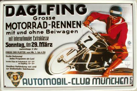 Daglfing Grosse Motorrad Rennen Blechschild