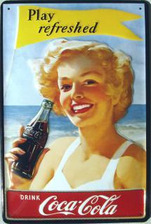 Coca Cola Strandnixe Blechschild