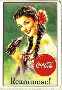 Blechpostkarte Coca Cola Reanimese!