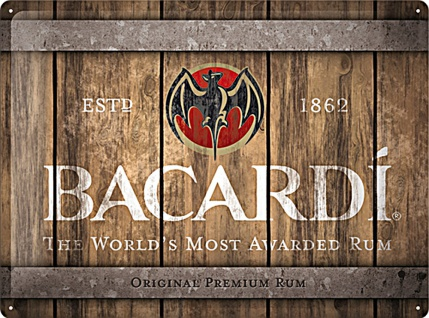 Bacardi - Wood Barrel Logo Blechschild