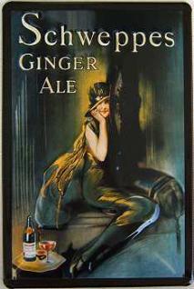 Schweppes Ginger Ale Dame mit Hut Blechschild - Vorschau