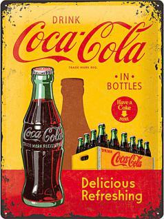 Coca-Cola - In bottles yellow Blechschild, 30 x 40 cm