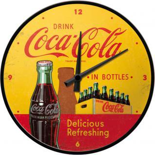 Coca-Cola - in bottles yellow Wanduhr (Echtglas)