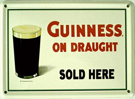 Guinness - on draught Mini Blechschild - Vorschau