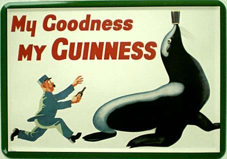 Blechpostkarte Guinness Robbe