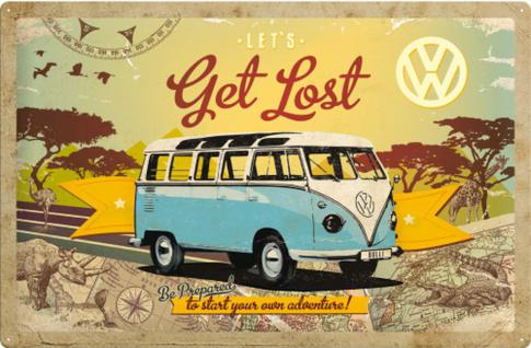 VW Bulli Let's Get Lost Blechschild