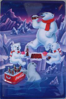 Coca Cola Eisbären Familie Blechschild