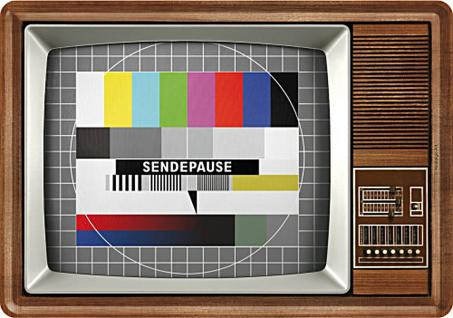 Blechpostkarte Retro TV (Sendepause)