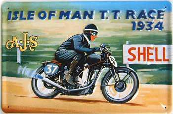 A.J.S. Isle Of Man T.T. Race 1934 Blechschild