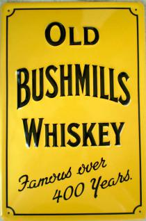 Old Bushmills Whiskey (gelb) Blechschild