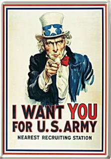 Blechpostkarte I Want You...For US Army - Vorschau