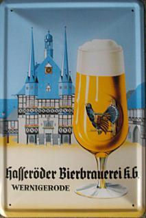 Hasseröder Bier, Glas Blechschild, 20 x 30 cm - Vorschau