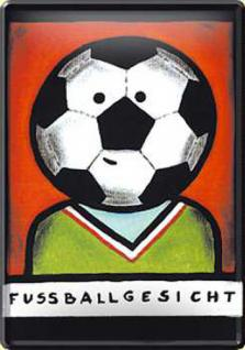 Blechpostkarte Fußballgesicht (Edgar)