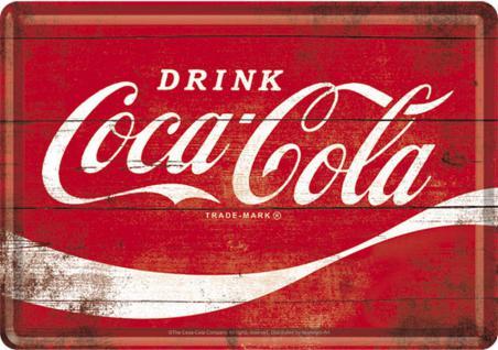 Blechpostkarte Coca-Cola - Logo Red Wave