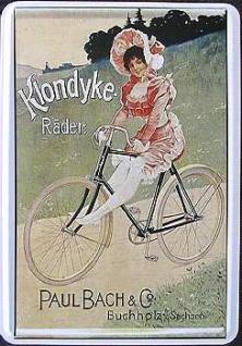 Blechpostkarte Klondyke Räder