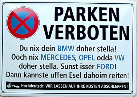 Blechpostkarte Parken verboten