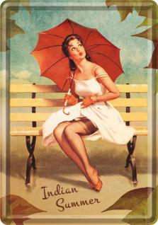 Blechpostkarte Pin Up - Indian Summer - Vorschau