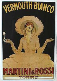 Blechpostkarte Martini weiss - Vorschau