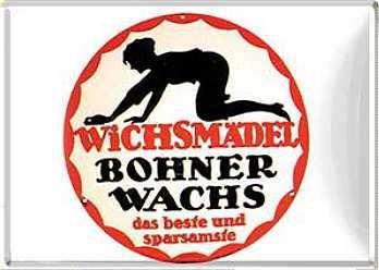 Blechpostkarte Wichsmädel Bohnerwachs - Vorschau