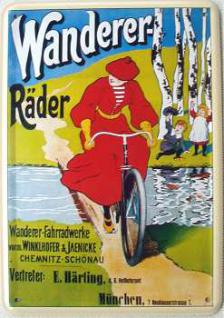 Blechpostkarte Wanderer Räder - Vorschau