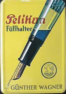 Blechpostkarte Pelikan Füllhalter - Vorschau