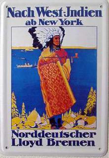 Blechpostkarte Norddeutscher Lloyd West-Indien