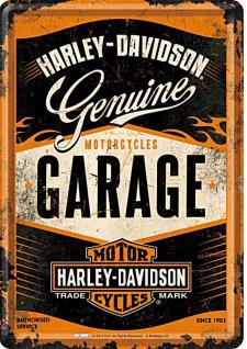 Blechpostkarte Harley-Davidson - Garage