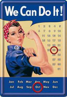 Blechpostkarte We Can Do It Kalender