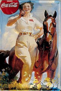 Coca Cola Lady mit Pferd Blechschild