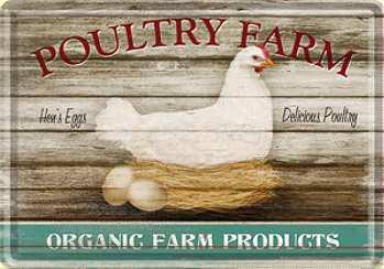 Blechpostkarte Poultry Farm