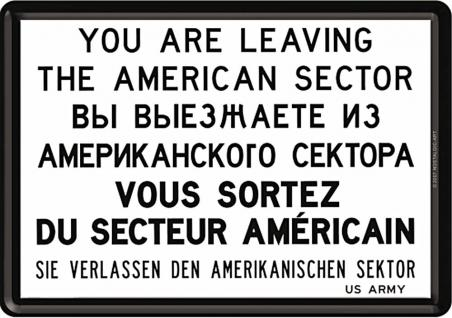 Blechpostkarte You Are Leaving the American Sector