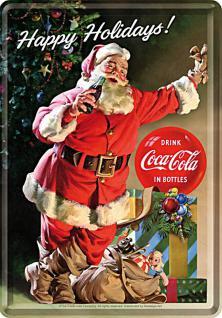 Blechpostkarte Coca-Cola - Happy Holidays Santa