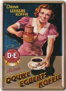 Douwe Egbert's Koffie, braun Mini-Blechschild - Vorschau