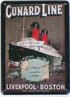Cunard Line Liverpool Boston Mini-Blechschild - Vorschau