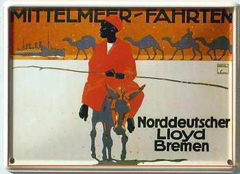 Norddeutscher Lloyd Mittelmeerfahrten Mini-Blechschild - Vorschau