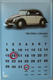 VW Käfer Cabrio 1952 Kalender Blechschild
