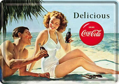 Blechpostkarte Coca-Cola - Coca-Cola - Beach Couple