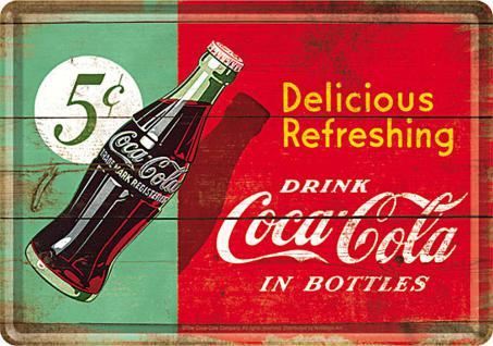 Blechpostkarte Coca-Cola - Delicious refreshing green